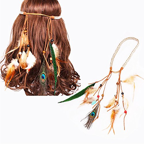 QLLY Peacock Feather Headband for Party, Disco, Halloween, Costume, Festival etc (Mixed -