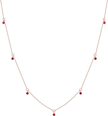 Gold Filled Round Dangle Cubic CZ Charm Choker Pendant Necklace