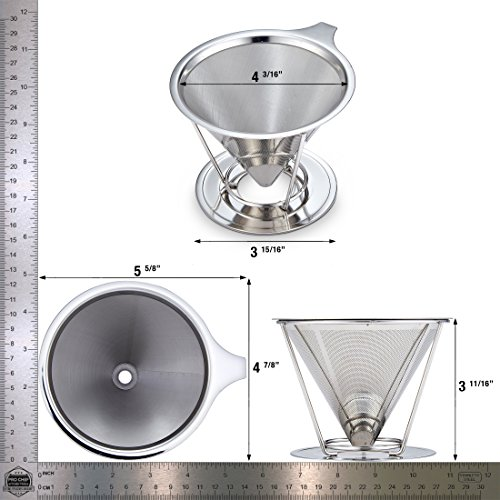 Pour Over Coffee Filter Reusable Cone-Shaped Dripper for Paperless Single Cup Brewed Coffee Maker