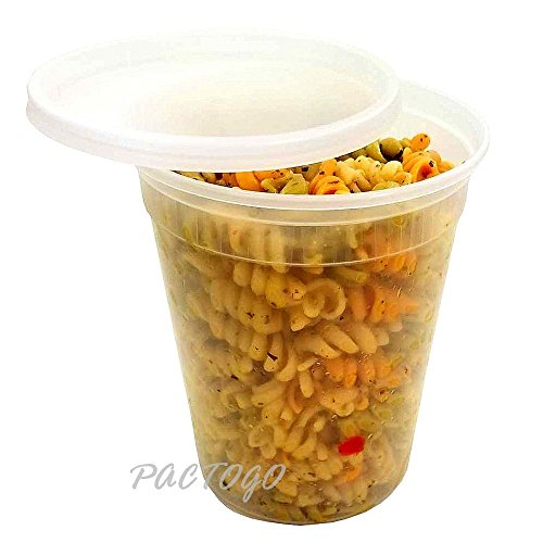 Pactiv-Newspring Plastic Microwaveable Deli Food 32 oz. Freezer DELItainer with Lid Combo - 100% BPA Free (Pack of 48 Sets) by Pactiv / Newspring (Image #2)'