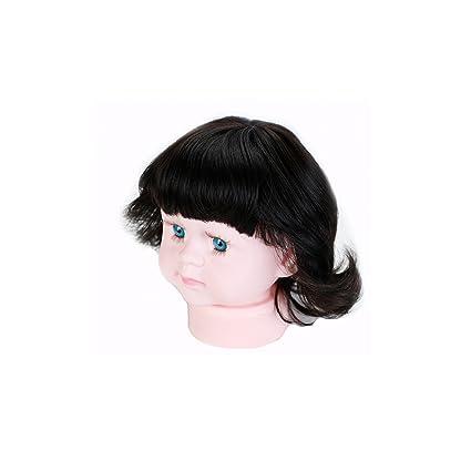 Shanghe Hair I Niños de calor de fibras sintéticas una peluca la flequillo de pelo rizado