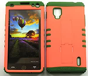 Cell-Attire Shockproof Hybrid Case For LG Optimus G, LS970 and Stylus Pen, Dark Green Soft Rubber Skin with Hard Cover (Neon Orange) Sprint by Maris's Diary