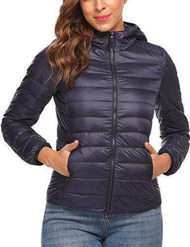 Zeagoo Women's Packable Ultra- Light Weight Hooded Short Down Jacket (Navy Blue, X-Large)