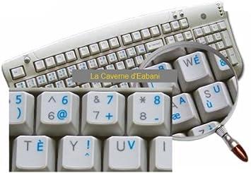 BEPO - Adhesivo para teclado con teclas transparentes, letras azules
