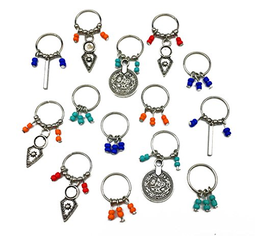 Antique Silver Clip - Hyamass 14pcs Antique Silver Coin Colorful Beads Charms Pendant Rings Set Hair Clip Headband Hair Accessories