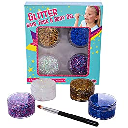 GirlZone: Face, Hair & Body Cosmetic Glitter Makeup. Great Birthday Present Gifts Idea For Girls 4 5 6 7 8 9 10+ Years Old