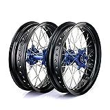 TARAZON 17'' & 17'' Yamaha Supermoto Wheel Set Blue Hub Rims Nipples YZ250F YZ450F 2014 2015