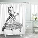 Emvency Shower Curtain Black Ballroom Watercolor Dance Tango White Beautiful Shower Curtains Sets with Hooks 72 x 78 Inches Waterproof Polyester Fabric