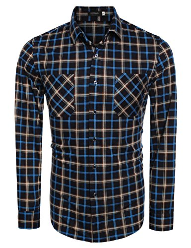 Coofandy Plaid Sleeve Button Shirts product image