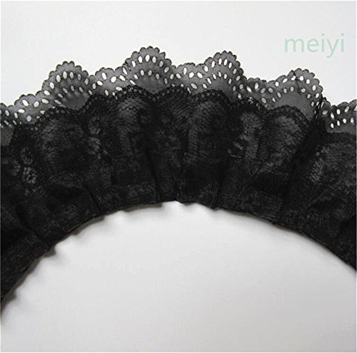 - 5 Yard 3-Layer Pleated Organza Lace Edge Gathered Mesh Chiffon Trim Ribbon 65mm Width Vintage Style Edging Trimmings Fabric Embroidered Applique Sewing Craft Wedding Bridal Dress Party Decor(Black)