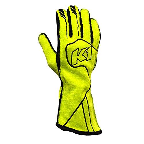 K1 RaceGear 23-CHP-FY-L Champ Auto Racing Nomex Gloves - SFI 3.3/5 Premium Auto Racing (Line Double Layer Suit)