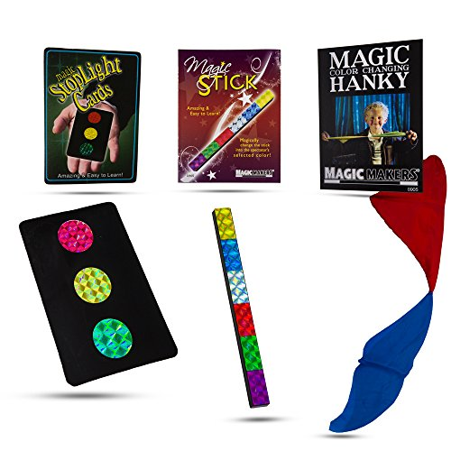 Magic Makers Color Changing Hanky, Stop Light Cards and Magic Stick Mini Tricks Kit Colour Changing Card Trick