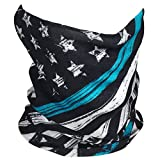 #6: Outdoor Face Mask - Perfect for Motorcycle Riding, Skiing, Snowboarding, Fishing - Work as Sun Shield, Dust Mask, Neck Gaiter, Balaclava, Bandana - Breathable Seamless Microfiber (Blue Line)