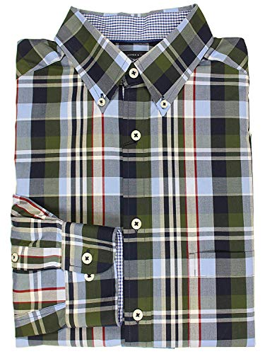 Roundtree & Yorke Trademark Woven Cotton Men's Big & Tall Long Sleeve Shirt (Bluegreen Buffalo Plaid, Large Tall)