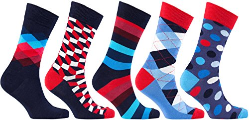 Socks Mens 5 pair Luxury Cotton Colorful