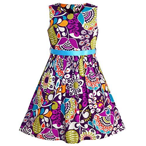 - Girls Dress Flower Pattern Purple Summer Sundress Size 9-10