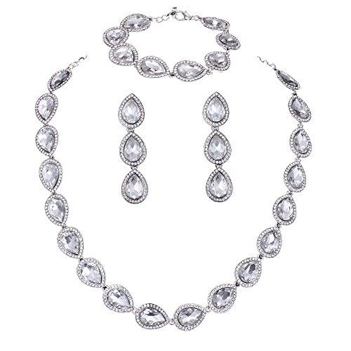 Wedding Bridal Austrian Crystal Teardrop Jewelery sets for Women (1 Set Earrings,1 PCS Necklace, 1 PCS Bracelet) (Clear)