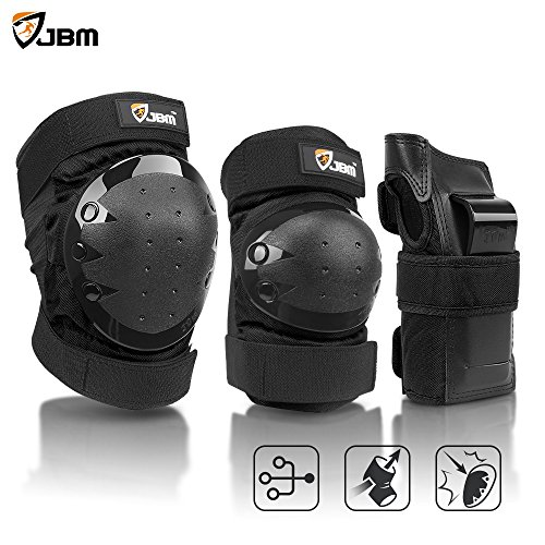 JBM international Adult / Child Knee Pads Elbow Pads Wrist Guards 3 In 1 Protective Gear Set, Black, Adult Knee And Elbow Pads