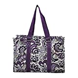 NGIL All Purpose Organizer Medium Utility Tote Bag 2018 Spring Collection (Purple Paisley Park)