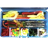 Flsd Gking Fishing Lure Baits Tackle, 100Pcs Box Pack Including Soft Rubber Worms Lures Frog Bait Cricket Lures Crankbaits Spinnerbaits Corn Lure Hard Sequins Topwater Lures Hooks Jigs