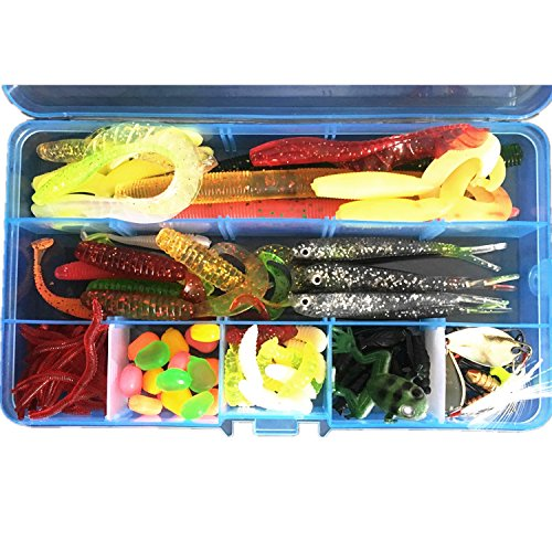 Flsd Gking Fishing Lure Baits Tackle, 100Pcs Box Pack Including Soft Rubber Worms Lures Frog Bait Cricket Lures Crankbaits Spinnerbaits Corn Lure Hard Sequins Topwater Lures Hooks Jigs by Flsd Gking
