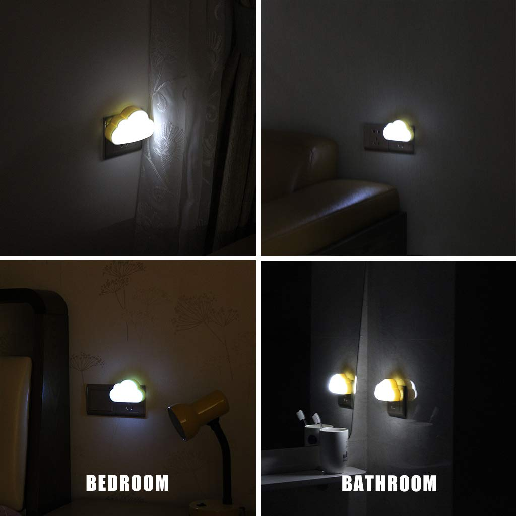 Hallway Energy Efficient Wall Lamp for Children/'s Bedroom Cloud White Safe ABS+PP Plug-in LED Night Light with Dusk to Dawn Sensor