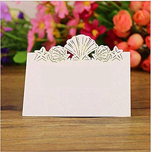 FidgetFidget Table Decor Charm 50pcs White Shell Place Name Cards Wedding Birthday Party