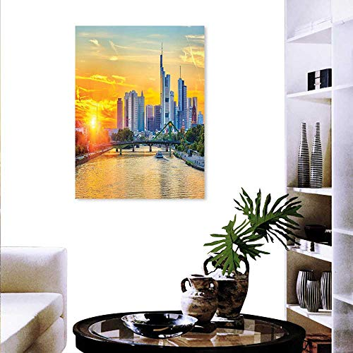 Anyangeight Wanderlust Customizable Wall Stickers Frankfurt Sunset Architecture Landmark Skyscraper Vibrant Colors Waterfront Wall Decoration 16