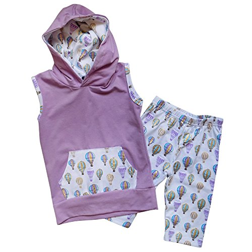 So Sydney Toddler Girls 2 Pc Hoodie Sleeveless Top and Crop Capri Pants Outfit (XS (2T), Hot Air Balloon Lavender)