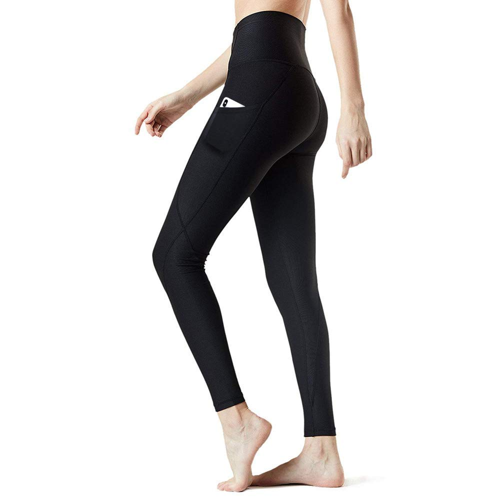 Huryfox High Waist Yoga Pants for Women -Tommy Control Workout Leggings with Pocket 4 Way Stretch Leggings-L