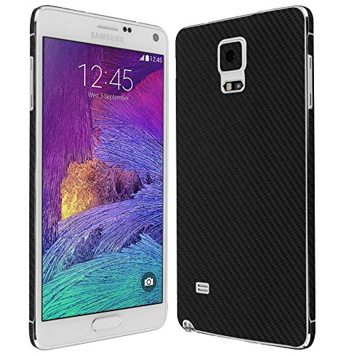 4 Screen Protector + Carbon Fiber Full Body, Skinomi TechSkin Carbon Fiber Skin for Samsung Galaxy Note 4 with Anti-Bubble Clear Film Screen ()
