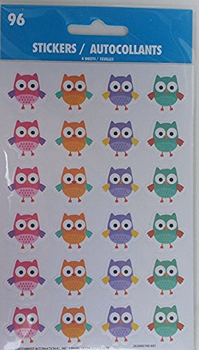 - Owl Stickers ~ 4 Sheets ~ 5 Colors of Adorable Owls ~ 120 Stickers ~ Hoot & Howl