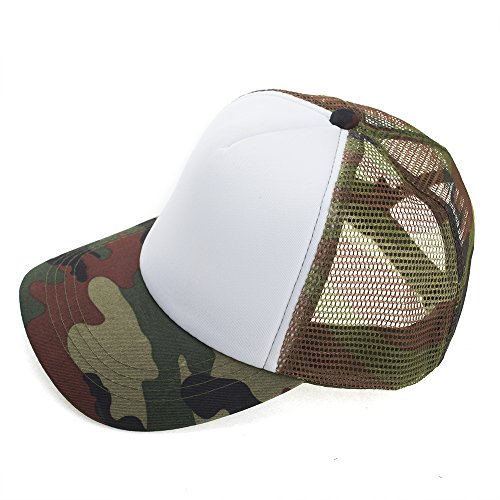 Opromo Kids Two Tone Mesh Curved Bill Trucker Cap, Adjustable Snapback, 23 Colors-White/Camo-1 Pieces