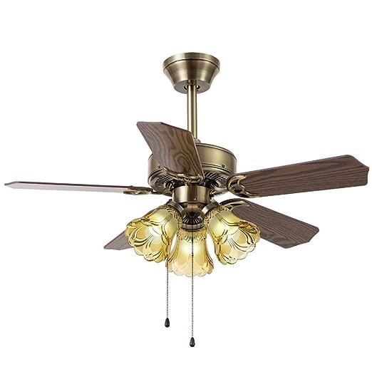 Lámpara de techo de madera de bronce para ventilador de casa ...