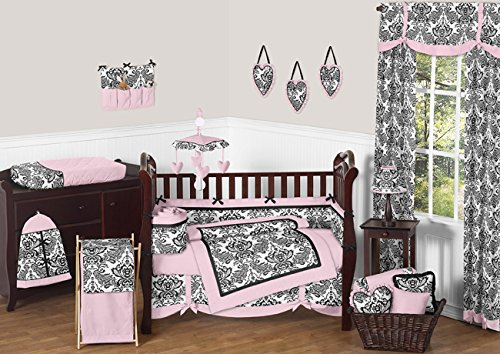 Sweet Jojo Designs Pink and Black Damask Sophia Girl 9pc Gir