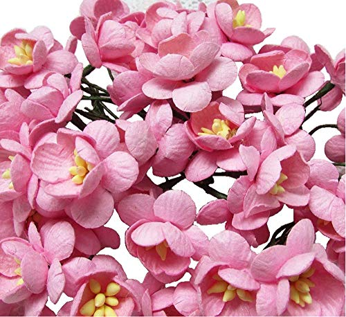 50 Pcs Cherry Blossom Pink Mulberry Paper Flower 25 mm Scrapbooking Wedding Doll House Supplies Card Project, Products From Thailand.