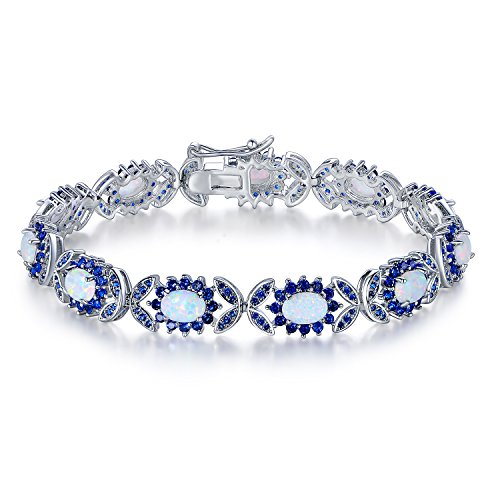 Barzel White Gold Plated Created Sapphire Spinel Created Fire Opal Bracelet