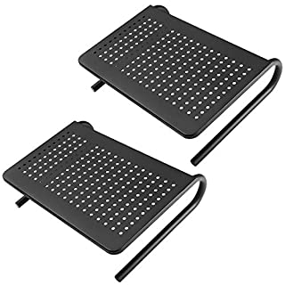 WALI Monitor Riser Desktop Stand with Vented Metal and Underneath Storage for Computer, Laptop, LED, LCD, OLED Flat Screen Display, iMac and Printer (STT001-2), 2 Packs, Black