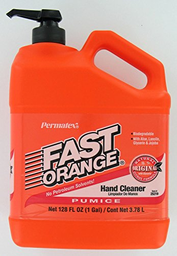 Permatex 25219 Fast Orange Pumice Lotion Hand Cleaners, Citrus, Bottle with Pump, 1 gal - Hand Cleaner Orange