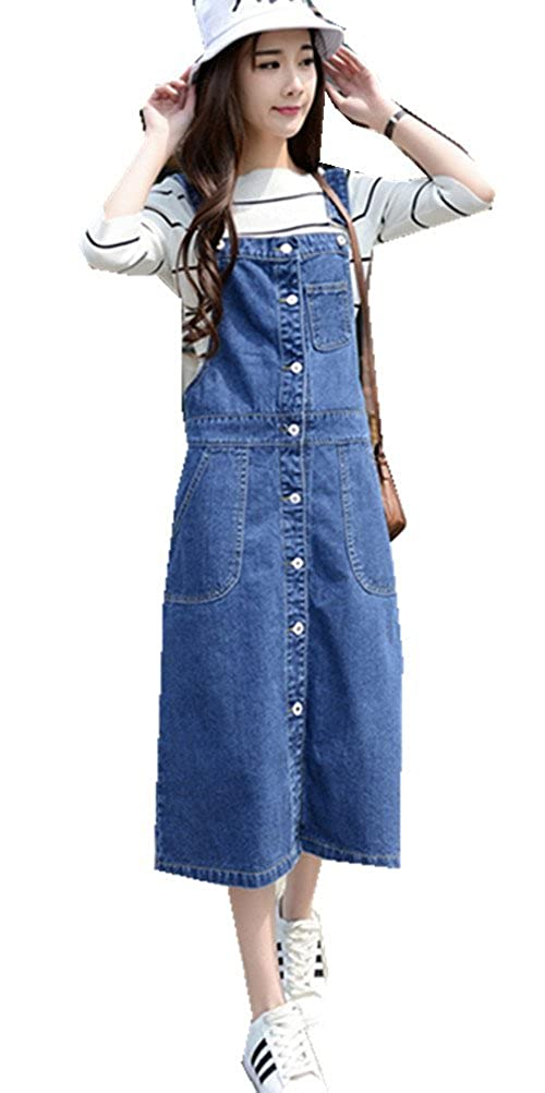 Women's A-line High Waist Relaxed Denim Overalls Skirts Jeans Plus Size