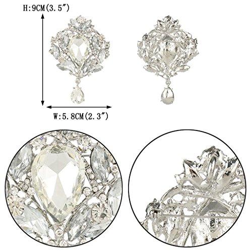 EVER FAITH Women's Austrian Crystal Elegant Leaf Teardrop Pendant Brooch Clear Silver-Tone Photo #4