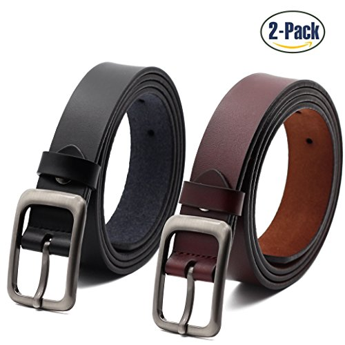 Set of 2 Women's Genuine Cowhide Leather Belt Ladies Vintage Casual Belts for Jeans Shorts Pants Summer Dress for Women With Alloy Pin Buckle By ANDY GRADE, Style 1, - Genuine Jeans