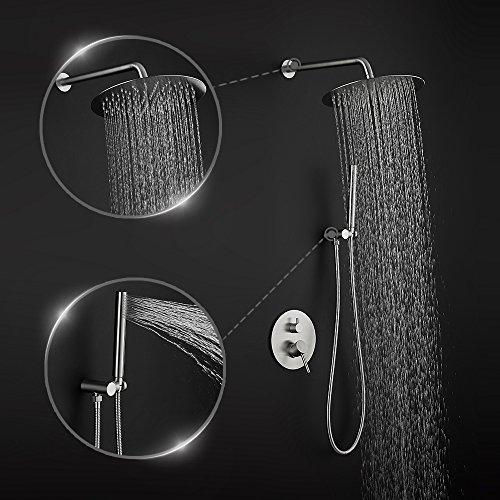 Shower System,8 Inch Round Rain Showerhead and Hand held Shower Head Bathroom Luxury Rainfall Shower Set StainlessSteelBrushedFinish