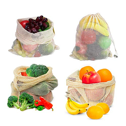 BKhome Reusable Mesh Produce Bags - Set of 9 Lightweight Natural Cotton Washable Premium Bags with Tare Weight on Tags for Shopping Storage, Toys, Fruit and Vegetable(Large, Medium, Small)