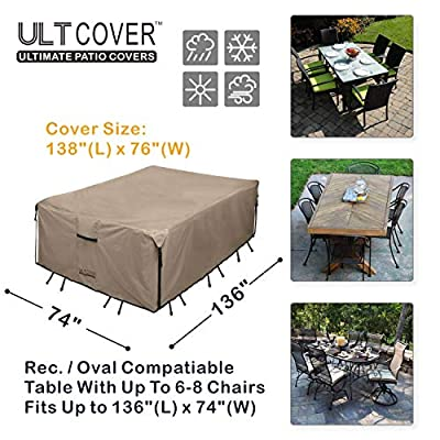 ULTCOVER 600D PVC Durable Patio Table Cover - 100% Waterproof Outdoor Furniture Covers - Brown