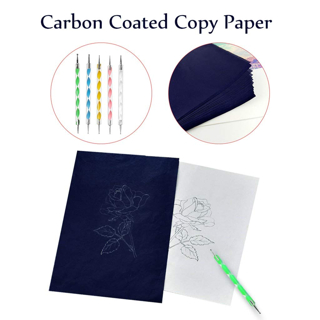 Blue Paper Canvas and Other Art Craft Surfaces callm 200 Sheets Carbon Paper Black Transfer Tracing Paper and 5 Pieces Ball Pens Embossing Styluses for Wood