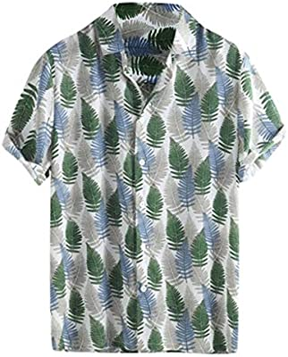 Generic Mens Dress Shirt Print Long Sleeve Hawaiian Tropical Button Down Shirt