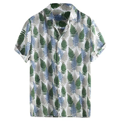 (iHPH7 Men's Short Sleeve Classic Shirt Hawaiian Beach Printed Turn Down Collar Short Sleeve Loose Shirts (L,11- Green))
