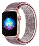 Replacement Band for Apple Watch 38mm 42mm 40mm 44mm Soft Nylon Strap for Women Men Compatible with iWatch Series 5 4 3 2 1 (Pink Sand, 38/40mm)
