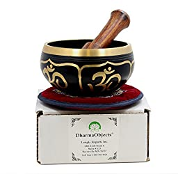 Relaxing Yoga Meditation Om Peace Singing Bowl / Silk Cushion / Rosewood Mallet Set
